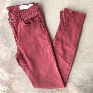 Rag & Bone High Rise Ankle Skinny Jeans Red